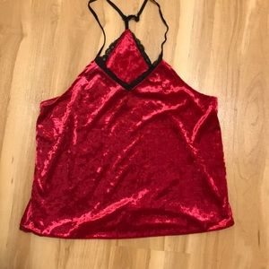 Red Crushed Velvet Racer-Back Tank